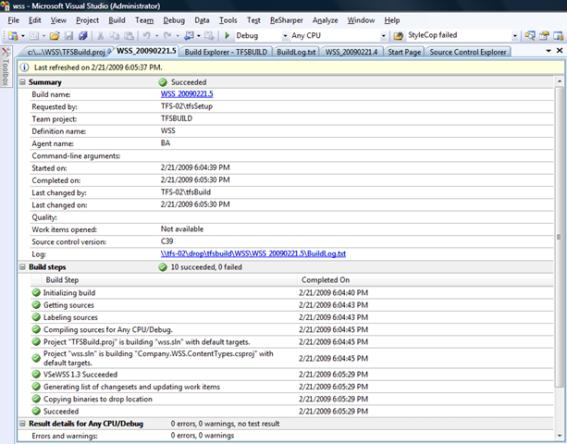 VSeWSS 1.3 Team Build Summary