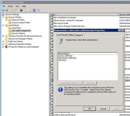 Group Policy, Windows Server 2008 and SharePoint 2007 issue | Azure