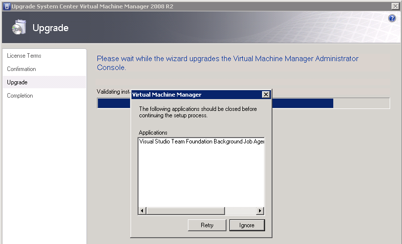 Ready to update System Center Virtual Machine Manager 2008