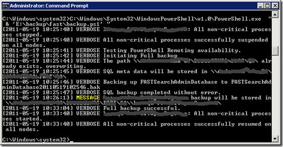 .\backup.ps1 –action full –backuppath <path of backup store(s)>