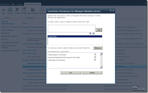 Connection Permissions for Managed Metadata Service