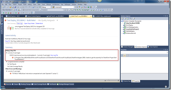 C:\Program Files (x86)\MSBuild\Microsoft\VisualStudio\v10.0\SharePointTools\Microsoft.VisualStudio.SharePoint.targets (389): Unable to get the assembly for SharePoint Project Item