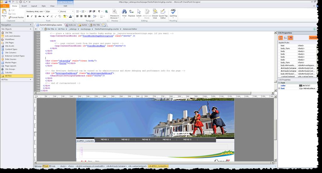 sharepoint designer 2010 edit master page