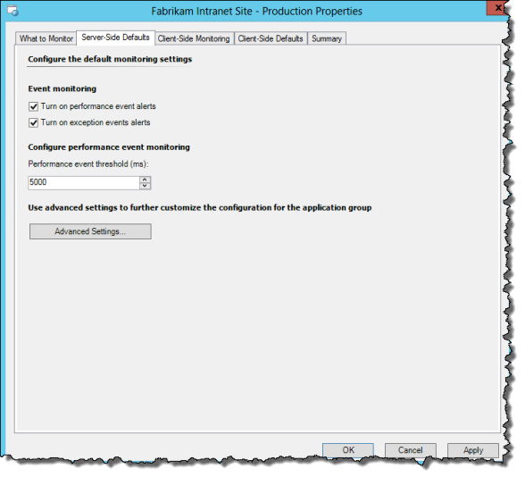 Application Monitoring Server-Side Defaults