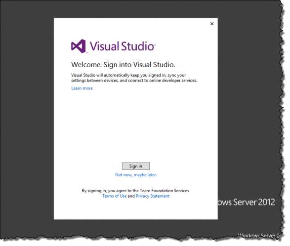 Sign in to Visual Studio 2013 Preview
