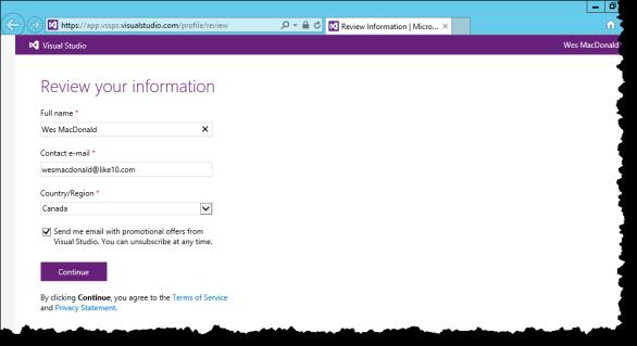 View your Visual Studio profile