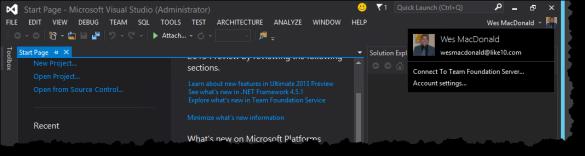 Visual Studio 2013 | Account Settings...