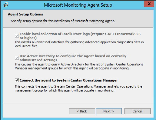 Agent Setup Options - Connect the agent to System Center Operations Manager