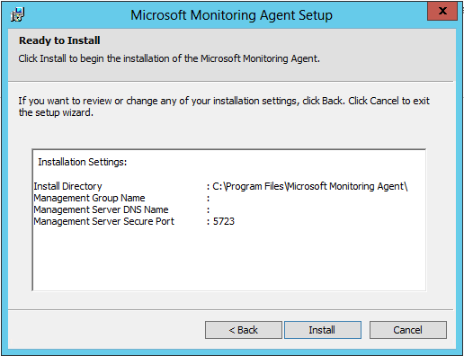 Microsoft Monitoring Agent Setup - Ready to Install