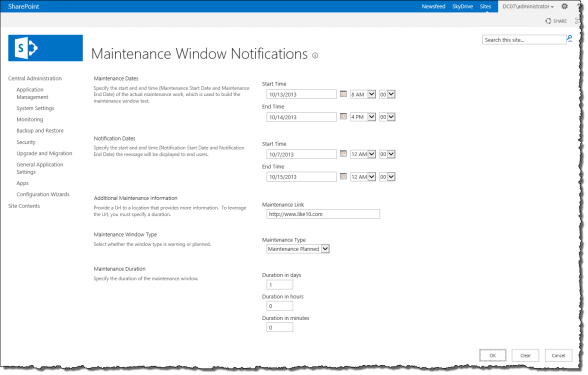 Maintenance Window Notifications Configuration Page