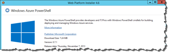 Windows Azure PowerShell Installer