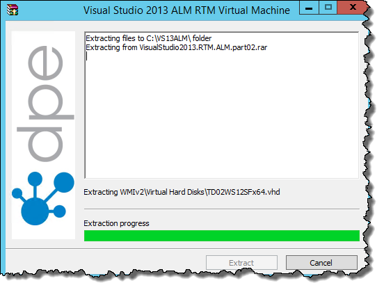 Extract the files for the VS 2013 ALM virtual machine