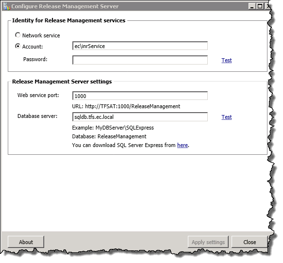 Configure Release Management Server
