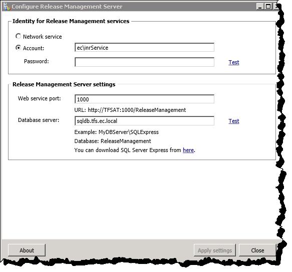 Configure Release Management Server
