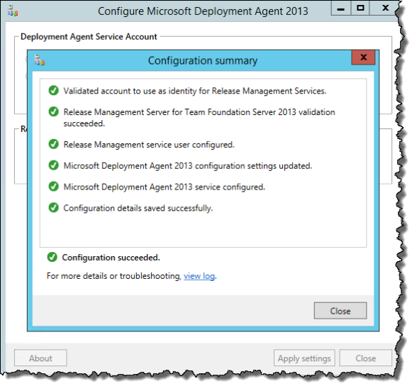 Configure Microsoft Deployment Agent 2013 | Apply Settings