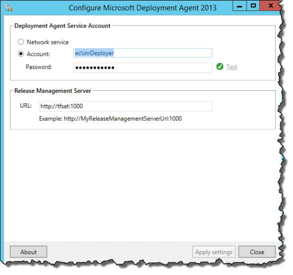 Configure Microsoft Deployment Agent 2013