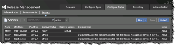 Deployment Agent has not communicated with the Release Management Server