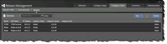 Release Management | Configure Paths | Servers | Deployer Version