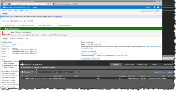 2015 XAML Build publishing release to Release Management Pipeline