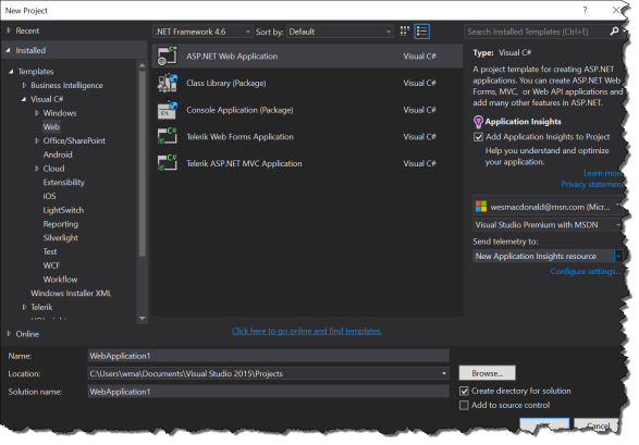 VS 2015 New Web Application Wizard