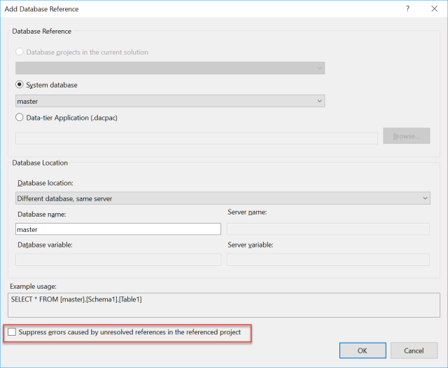 Project contains an invalid database reference | Azure