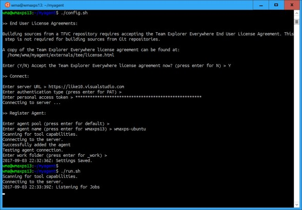 Running the Ubuntu VSTS Agent on Windows Subsystem for Linux (WSL
