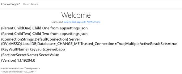 Demo .NET Core Web App; Sample Home page displaying values from appSettings and Azure Key Vault