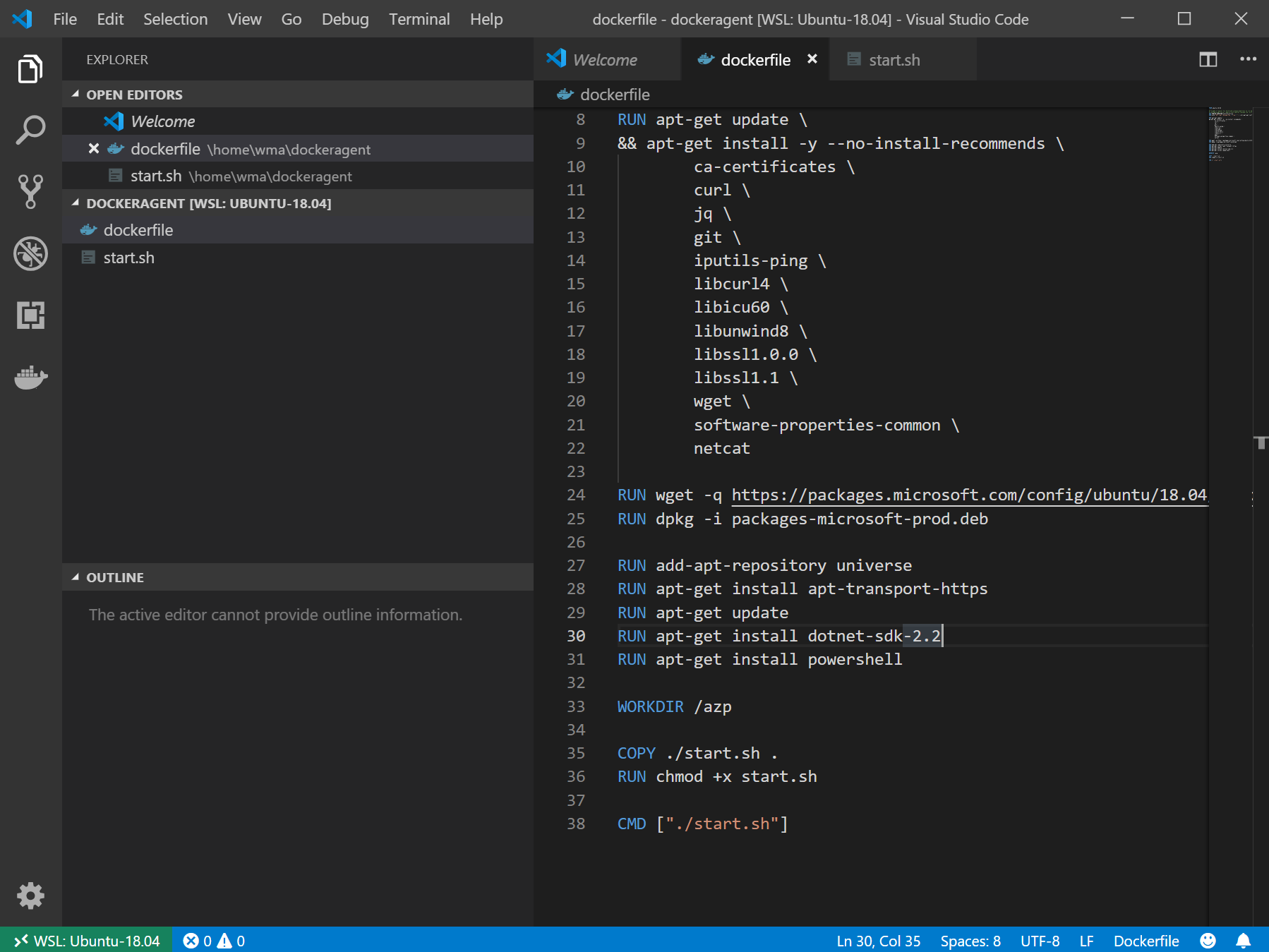 Containerized Azure Pipelines Agent using Docker with WSL2