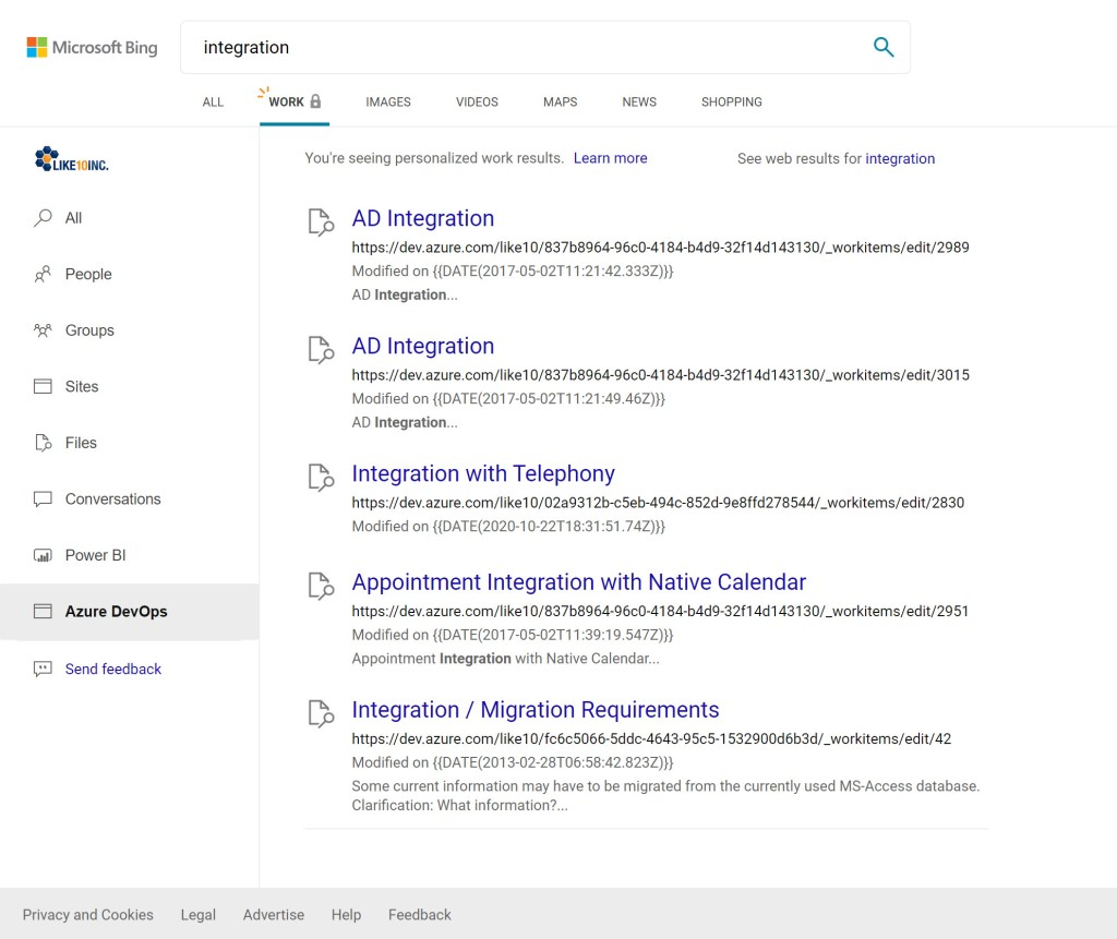 Azure DevOps Search Results