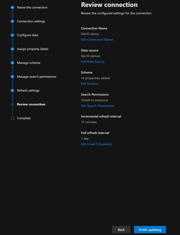 Review connection details