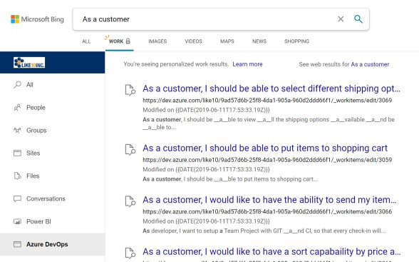 Search Results from Azure DevOps Work Items